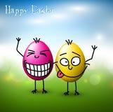 Huevos de Pascua divertidos del vector - tarjeta de pascua feliz ilustración del vector