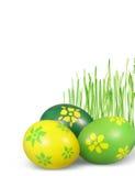 Huevos de Pascua e hierba verde Imagen de archivo libre de regalías