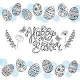 Huevos de Pascua e inscripción caligráfica manuscrita pascua feliz libre illustration