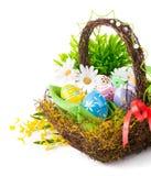 Huevos de Pascua en cesta con las flores de la primavera Foto de archivo
