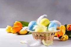 Huevos de Pascua en cesta con los tulipanes Fotografía de archivo libre de regalías