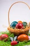 Huevos de Pascua en cesta de mimbre en blanco Imagen de archivo libre de regalías