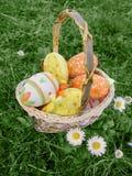 Huevos de Pascua en cesta en hierba Fotos de archivo libres de regalías