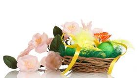 Huevos de Pascua en cesta y rama con las flores aisladas Imágenes de archivo libres de regalías