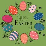 Huevos de Pascua en el círculo coloreado en estilo del vintage con las flores simples dibujadas de la mano negra Ejemplo del vect Fotos de archivo