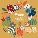 Huevos de Pascua en el círculo coloreado en estilo del vintage con las flores y las hojas coloridas Ejemplo del vector en fondo d Fotografía de archivo libre de regalías