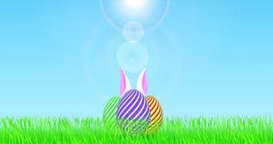 Huevos de Pascua en el campo, con los oídos blancos de mudanza del conejito