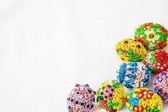 Huevos de Pascua en el fondo blanco Fotografía de archivo libre de regalías