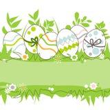 Huevos de Pascua en el marco de la hierba libre illustration