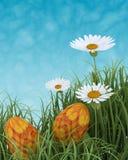 Huevos de Pascua en flores del resorte ilustración del vector