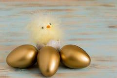 Huevos de Pascua en fondo de madera al lado de la cesta con el pollo del bebé Fotos de archivo