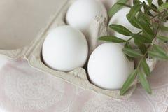 Huevos de Pascua en fondo pálido imagenes de archivo