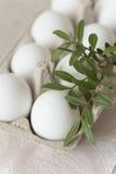 Huevos de Pascua en fondo pálido Foto de archivo