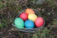 Huevos de Pascua en Heartform en un prado Imagen de archivo libre de regalías