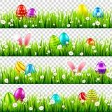 Huevos de Pascua en hierba con el sistema de los oídos de conejo de conejito Días de fiesta de la primavera en abril Celebración  stock de ilustración