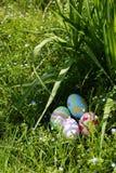 Huevos de Pascua en hierba del resorte Foto de archivo libre de regalías