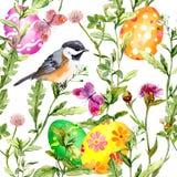 Huevos de Pascua en hierba Modelo inconsútil - pájaro lindo, flores, mariposas watercolor