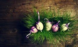Huevos de Pascua en hierba verde fresca en fondo de madera horizonta Imagen de archivo libre de regalías