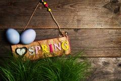Huevos de Pascua en hierba verde fresca en fondo de madera horizonta Fotos de archivo