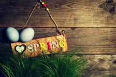 Huevos de Pascua en hierba verde fresca en fondo de madera horizonta Fotos de archivo libres de regalías