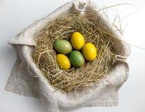 Huevos de Pascua en jerarquía del heno Foto de archivo