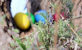 Huevos de Pascua en la hierba verde fotos de archivo