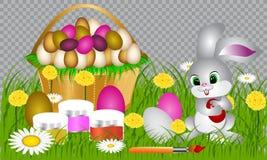 Huevos de Pascua en la hierba verde stock de ilustración