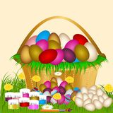 Huevos de Pascua en la hierba verde libre illustration