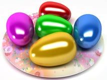 Huevos de Pascua en la placa Foto de archivo