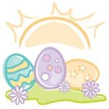Huevos de Pascua en la salida del sol stock de ilustración
