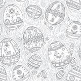 Huevos de Pascua en modelo inconsútil de las hojas