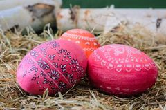Huevos de Pascua en rojo y anaranjado Foto de archivo