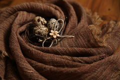 Huevos de Pascua en textura de la tela de la arpillera del giro Fotografía de archivo libre de regalías