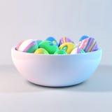 Huevos de Pascua en un cuenco Fotografía de archivo