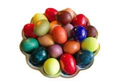 Huevos de Pascua en un fondo blanco Imagenes de archivo