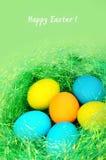 Huevos de Pascua en un fondo verde Foto de archivo libre de regalías