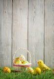 Huevos de Pascua en una cesta Imágenes de archivo libres de regalías