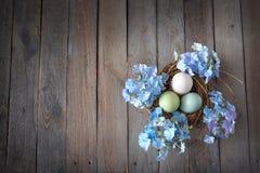 Huevos de Pascua en una jerarquía con las hortensias azules Fotografía de archivo libre de regalías