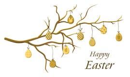 Huevos de Pascua en una rama, vector Fotos de archivo