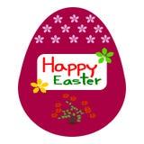 Huevos de Pascua, flor del modelo, tarjeta de felicitación de Pascua de la plantilla Fotos de archivo