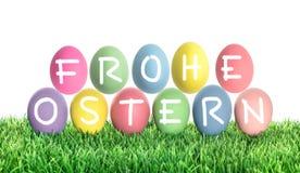 Huevos de Pascua Frohe Ostern Pascua feliz Decoración colorida Foto de archivo libre de regalías