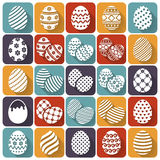 Huevos de Pascua Iconos planos del vector fijados Fotografía de archivo