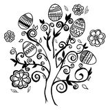 Huevos de Pascua a mano del árbol Fotos de archivo