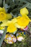 Huevos de Pascua ocultados Imagen de archivo libre de regalías