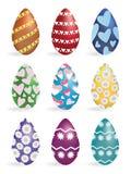 Huevos de Pascua pintados aislados en blanco en vector Foto de archivo