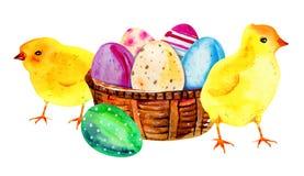 Huevos de Pascua pintados en una cesta de madera Acuarela exhausta IL de la mano libre illustration
