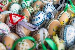 Huevos de Pascua pintados a mano hermosos Fotografía de archivo