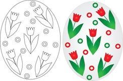 Huevos de Pascua que colorean las páginas fijadas Fotografía de archivo