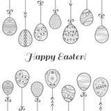 Huevos de Pascua que cuelgan, tarjeta selebratory Ilustración del vector ilustración del vector