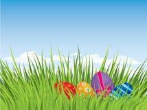 Huevos de Pascua que ocultan en la hierba Fotos de archivo libres de regalías